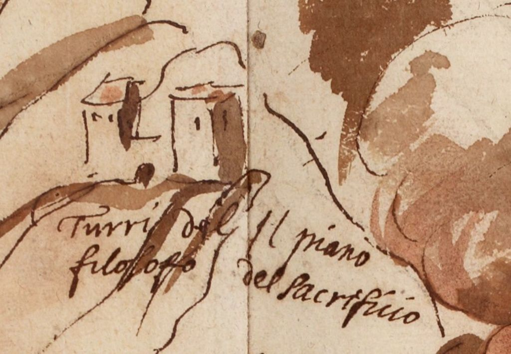 Monochromatic map of A.Leal / 1635 - detail on the top with the Piano del Sacrificio / Torre del Filosofo