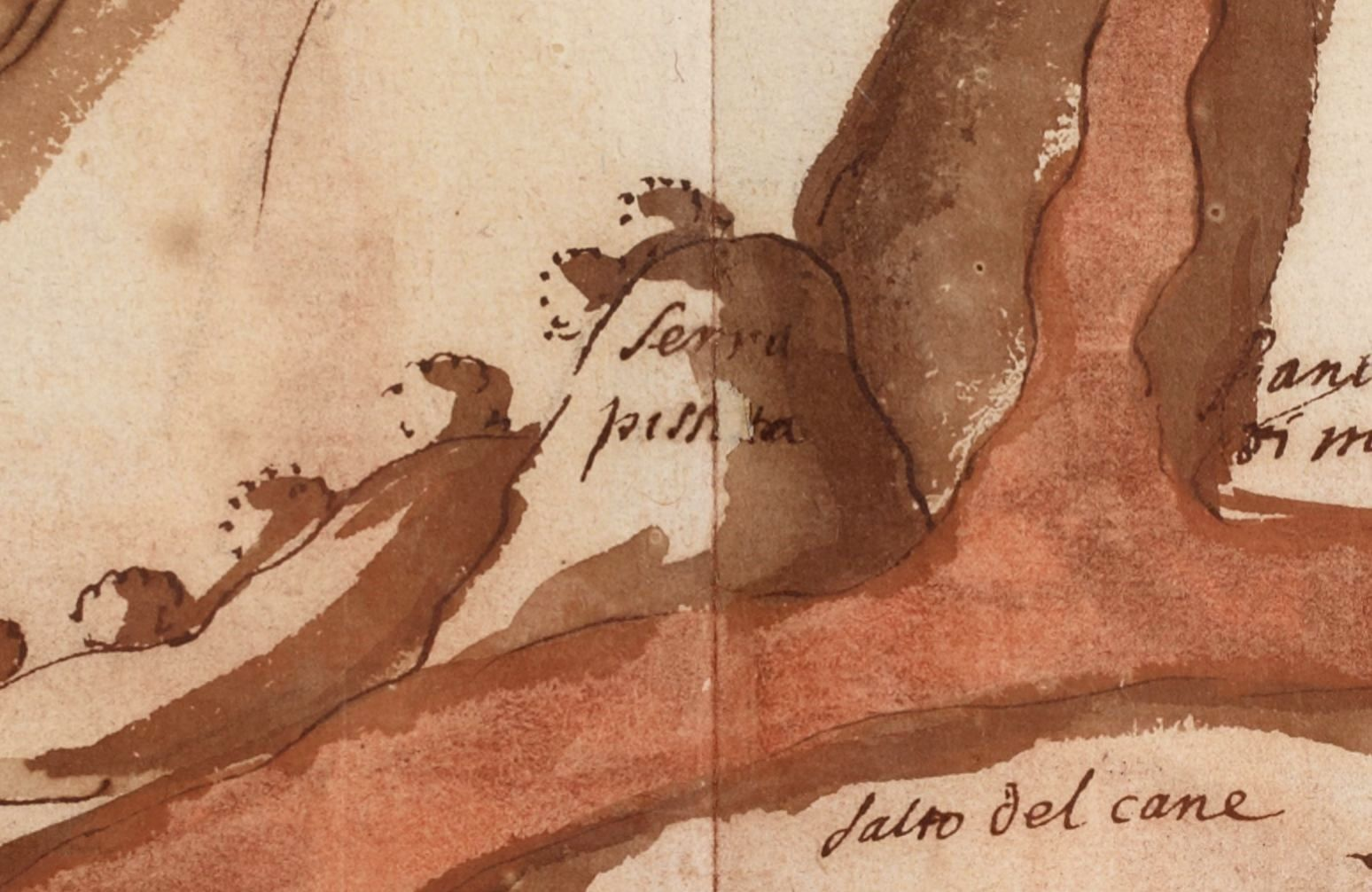 Monochromatic map of A.Leal / 1635 - details on the separation in 2 branches of the flow near Serra Pizzato and Mt. Salto del Cane