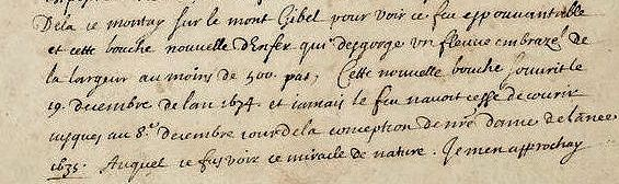 Extract from the correspondence accompanying the eruption map - A. Léal / Bibliothèque Nationale de France