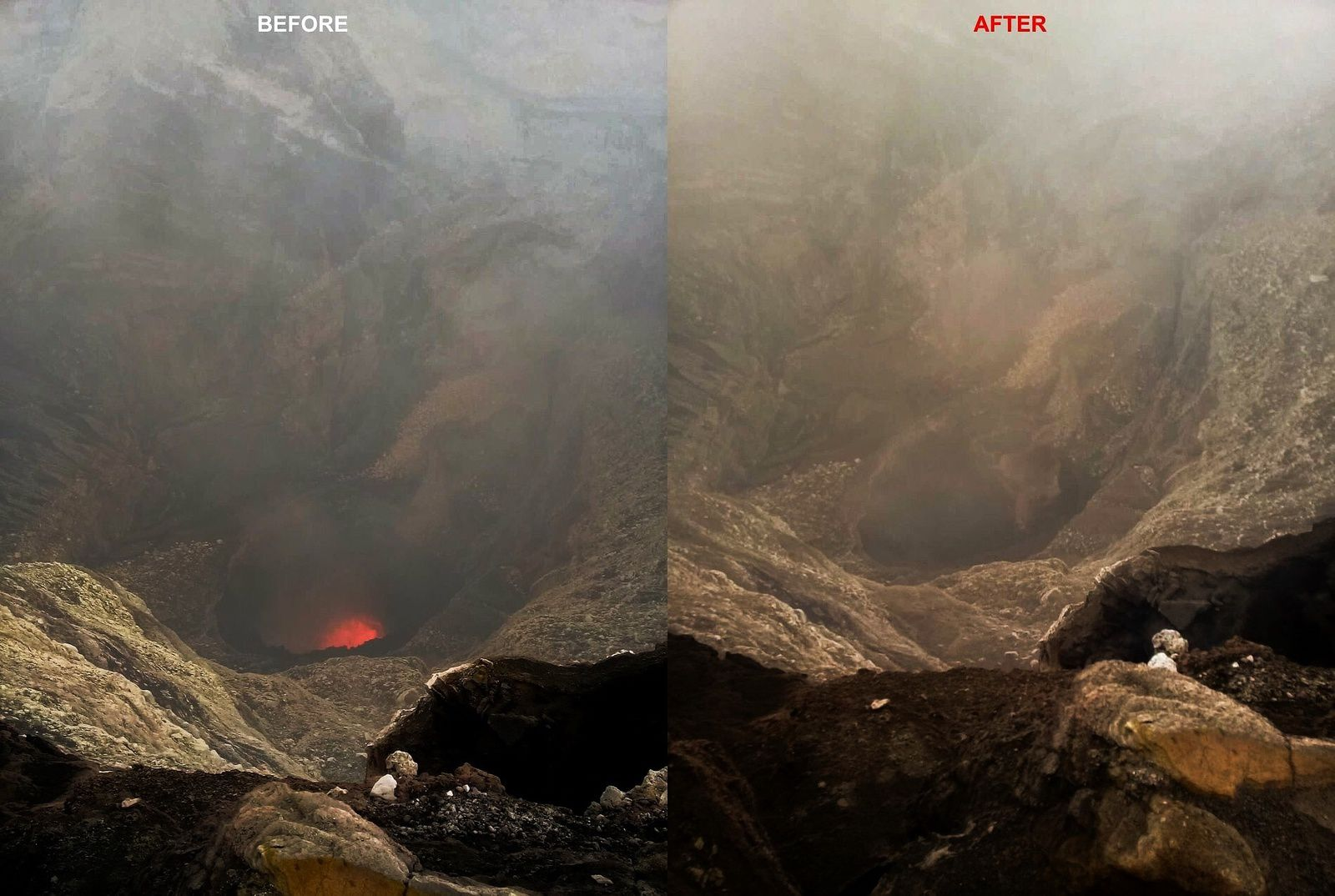 Ambrym - disappearance of the lava lake in the Marum crater following the intracaldical fissure eruption - photo John Tasso 17.12.2018