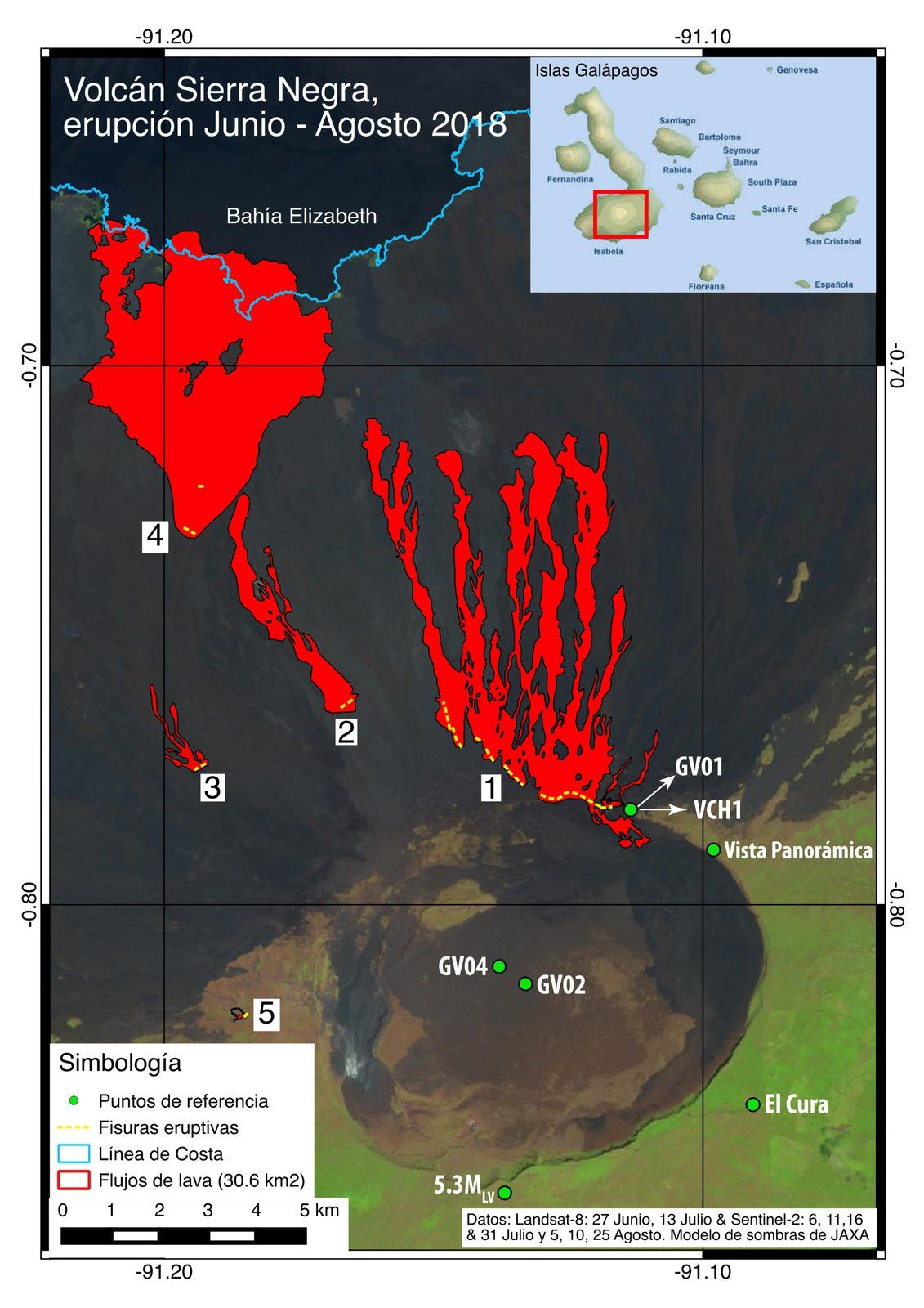 Sierra Negra - eruptive fissures and lava flows between June and August 2018 - Doc. IGEPN