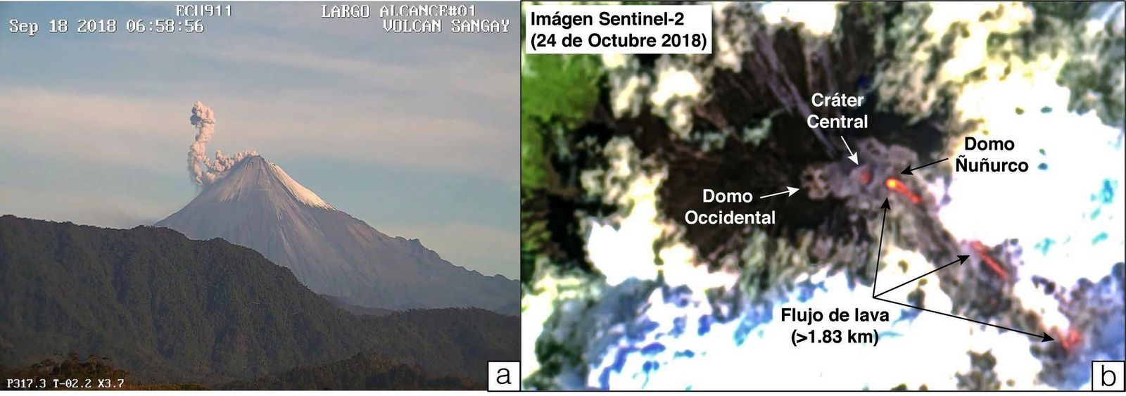 Sangay - on the left, typical ash emission on 18.09.2018 / IGEPN - on the right, ESA image with extension of the lava flows on 24.10.2018 - Doc.via Volcanodiscovery