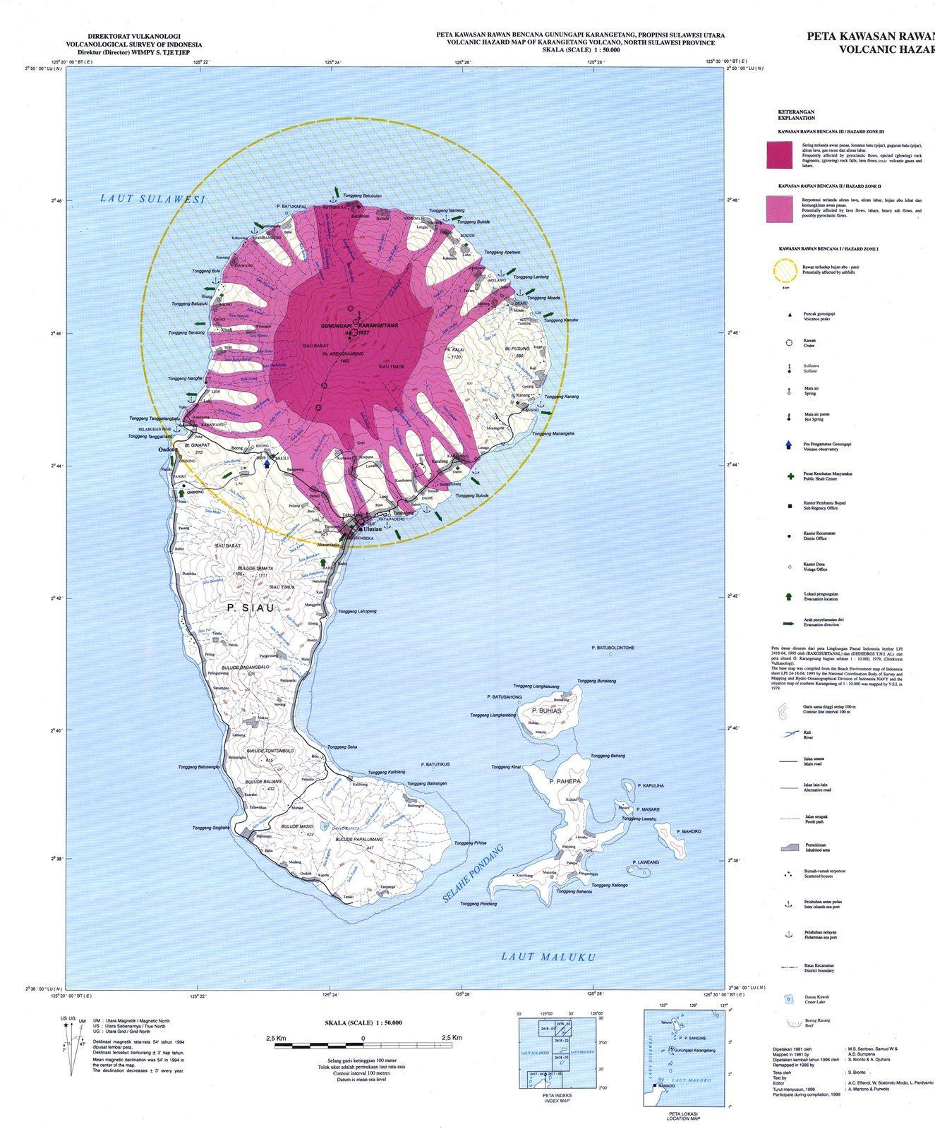 Karangetang - carte des zones à risques réévaluée au 21.12.2018 - Doc.Magma Indonesia