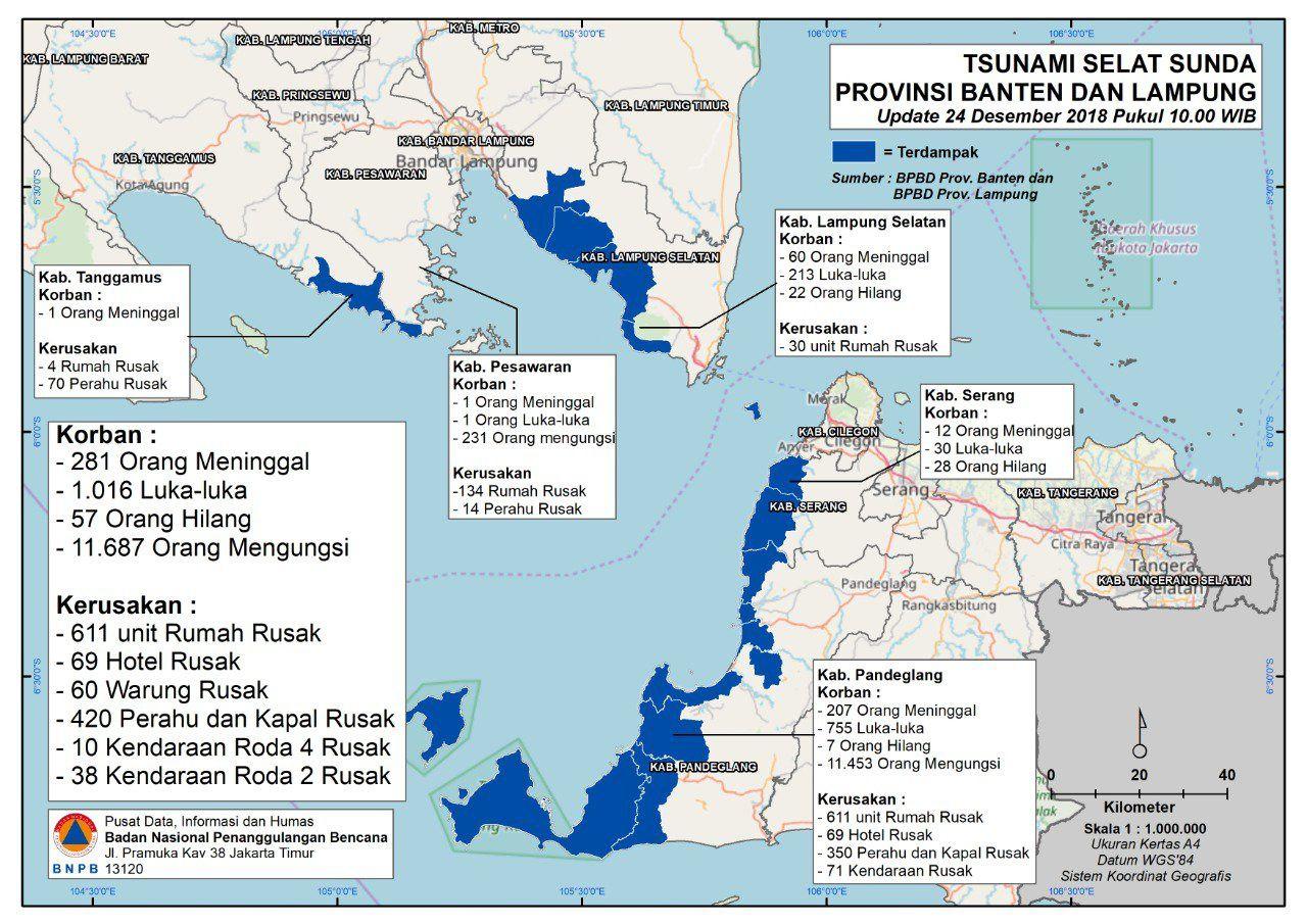 Bilan du Tsunami au 24.12.2018 / 22 h WIB - Doc. BNPB