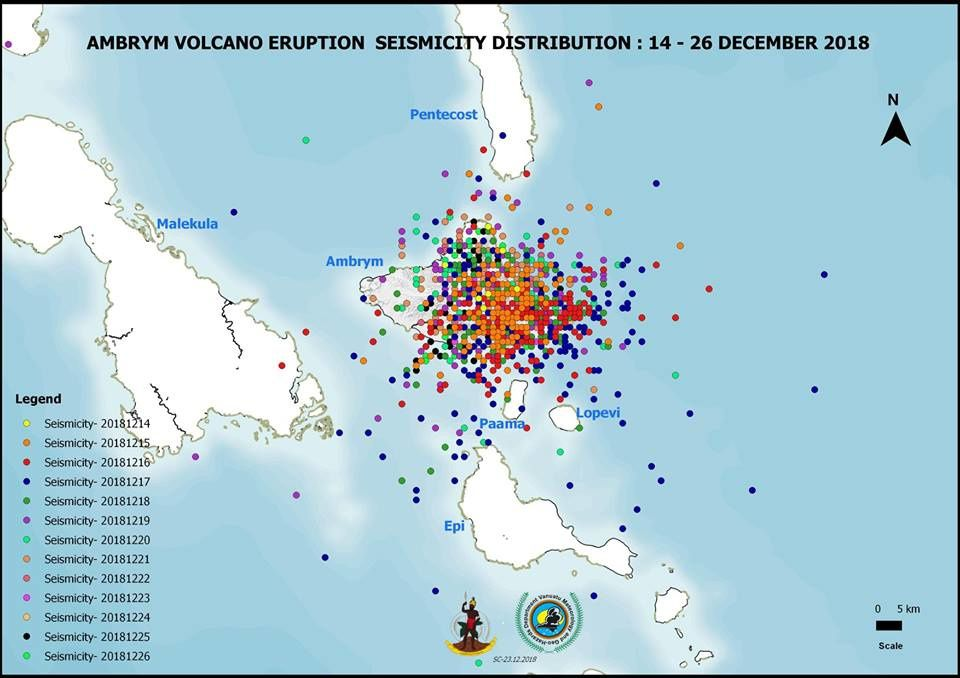 Ambrym - earthquakes between 14 and 26 December 2018 serialized by dates / colors - Doc. GMVD