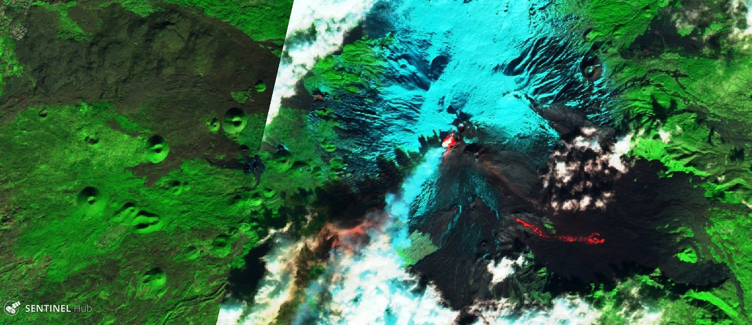 Etna - ponts chauds et coulées - images Sentinel 2 26.12.2018, respectivement SWIR & Bands 12,11,4