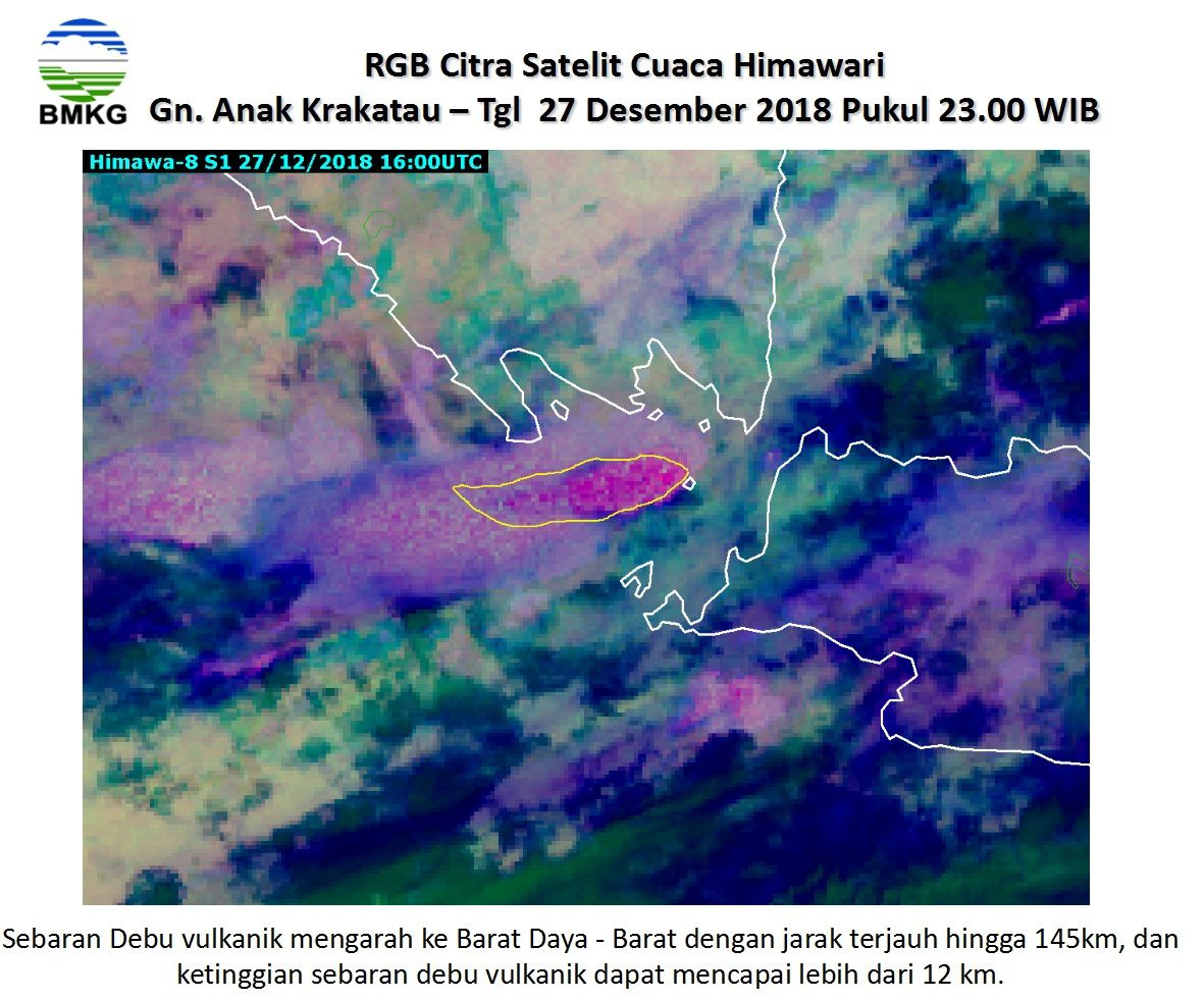 Krakatau - extension du nuage de cendres vers le SO le 27.12.2018, respectivement à 9h et 23h WIB - Doc. BMKG