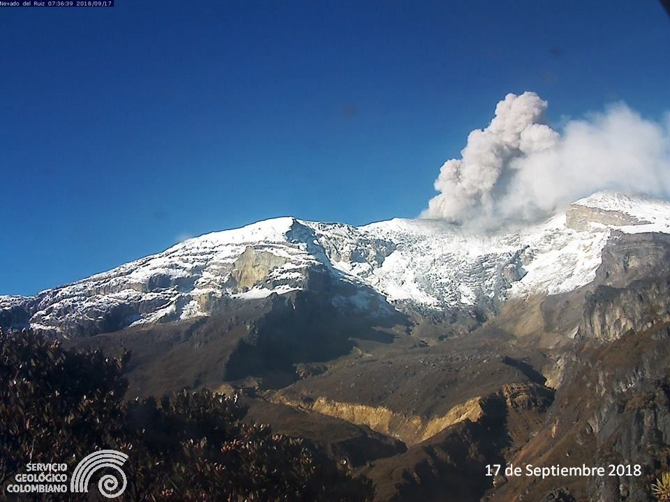 Nevado del  Ruiz  - photo archives 17.09.2018 -  SGC