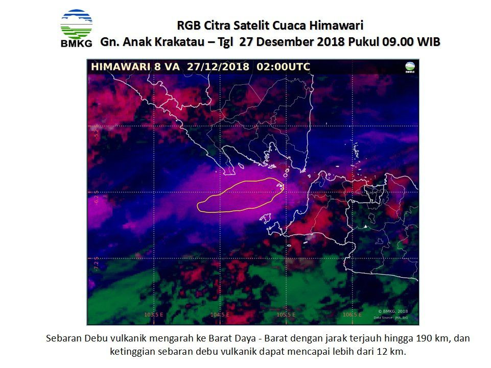 Krakatau - extension of the ash cloud to the SW on 27.12.2018, respectively at 09.00 and 23.00 WIB - Doc. BMKG