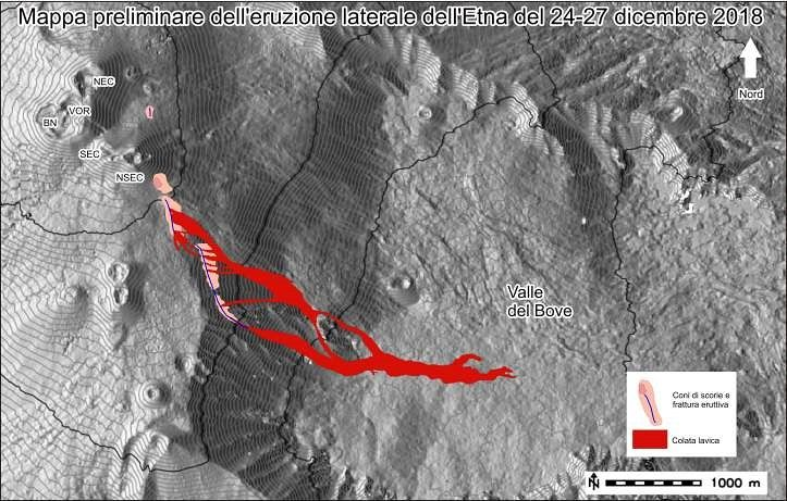 Etna - Preliminary map of the products of the eruption of 24 to 27 December 2018 - INGV Technolab via M.Neri