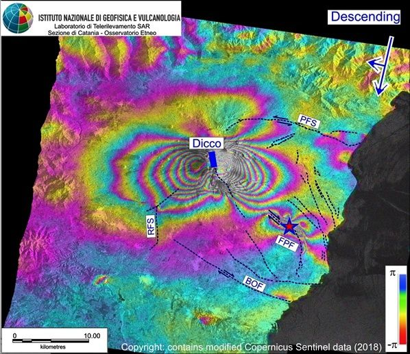 Etna - Result of interferometric processing in phase of SAR data - 2018.12.28 / 2018.12.22 - Doc. INGV