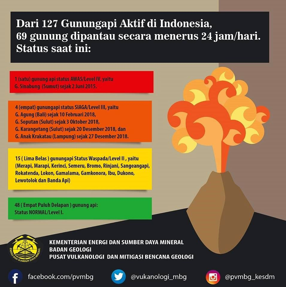 Indonesia - status of 69 volcanoes under continuous surveillance - Doc PVMBG 02.01.2019