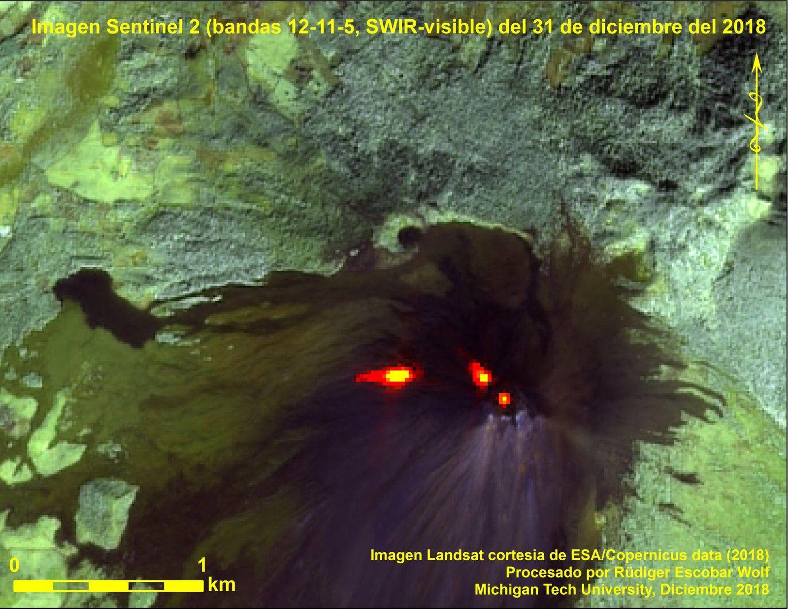 Pacaya - image Sentinel 2 bands 12,11,5, SWIR-Visible  par  R.E.Wolf  MTU / 31.12.2018