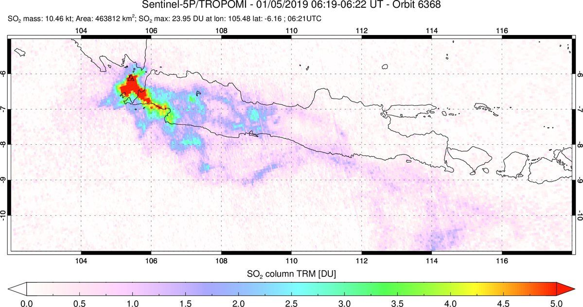 Anak Krakatau - SO2 emissions to the west of Java due to a change of wind direction - image Sentinel 5P / Tropomi 05.01.2019 via S.Carn