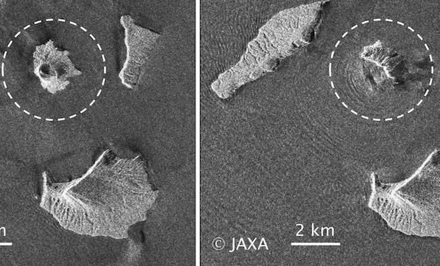 Anak Krakatau - radar images of the morphology before 22.12 and 24.12.2018 - radar Jaxa ALOS-2