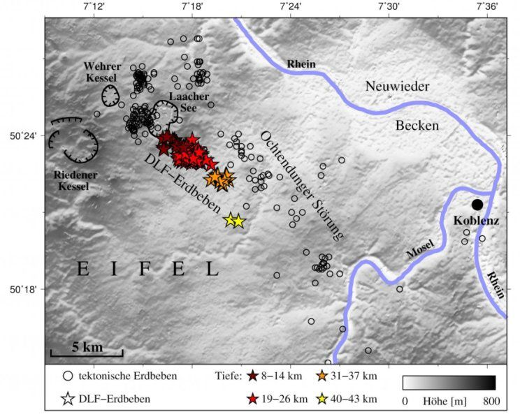 Map of locations and depth of DLF earthquakes under the Laacher See volcano - Hensch & al January 2019 / Science News