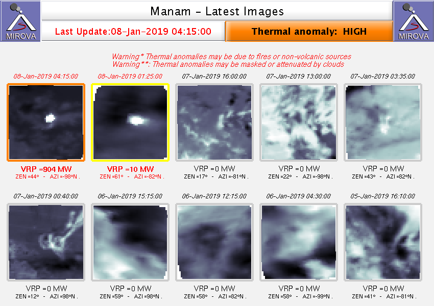 Manam - thermal anomalies of the 08.01.2019 / 04h15 - Doc. Mirova Modis