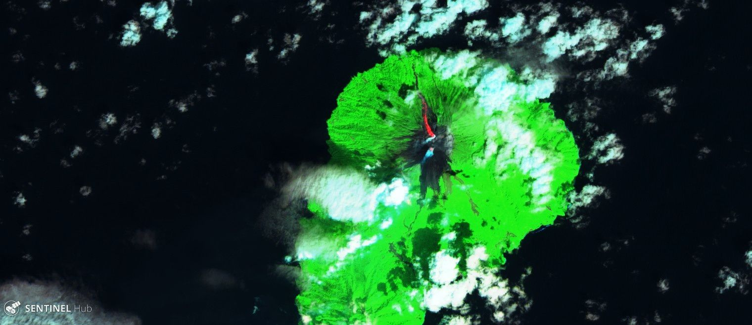 Karangetang - images Sentinel 2 Swir 07 (top) and 09.01.2019 (below) that show the progress of the lava flow. - one click to enlarge