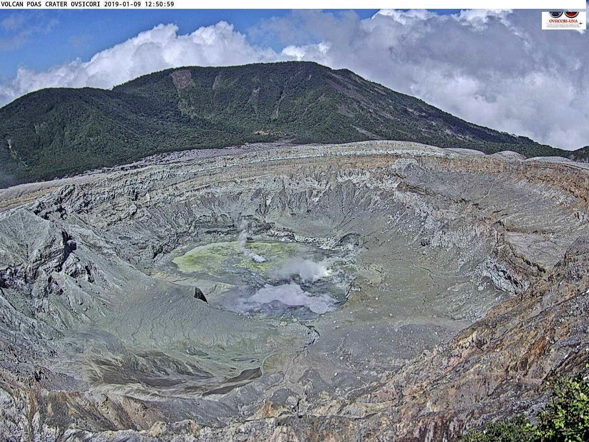 Poas - 09.01.2019 / 1pm - the lake floor covered with sulfur deposits - Webcam Ovsicori