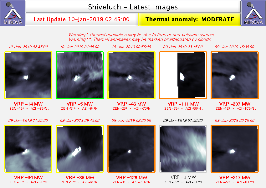 Sheveluch - volcanic ash advisory for the 10.01.2019 / VAAC Tokyo - thermal anomalies of 9 and 10.01.2019 / Mirova Modis - one click to enlarge