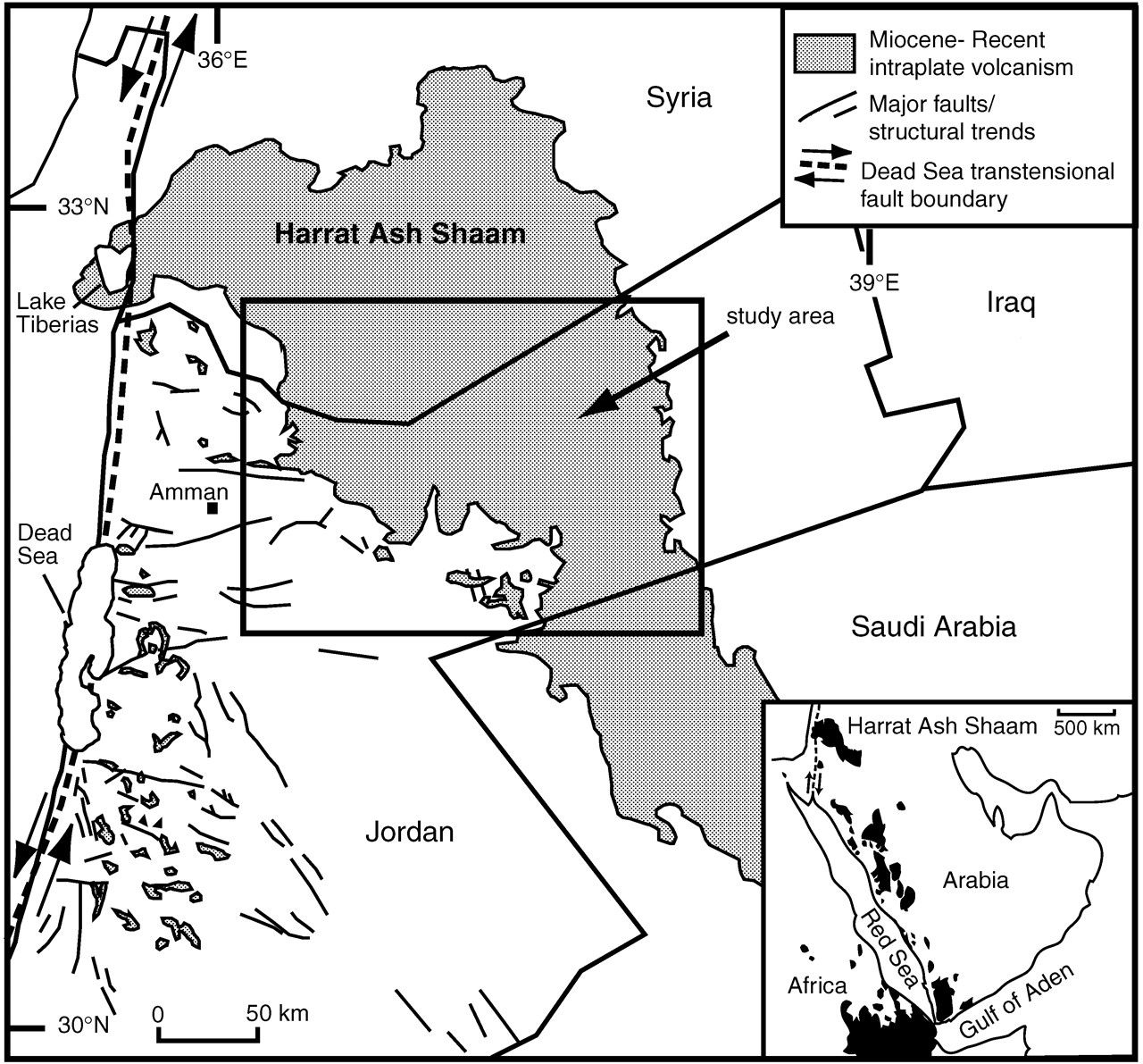 Map of the intraplate volcanic field Harrat Ash Shamah along the DSFZ - In the insert, map of the Afro-Arab region with its volcanic fields in black.