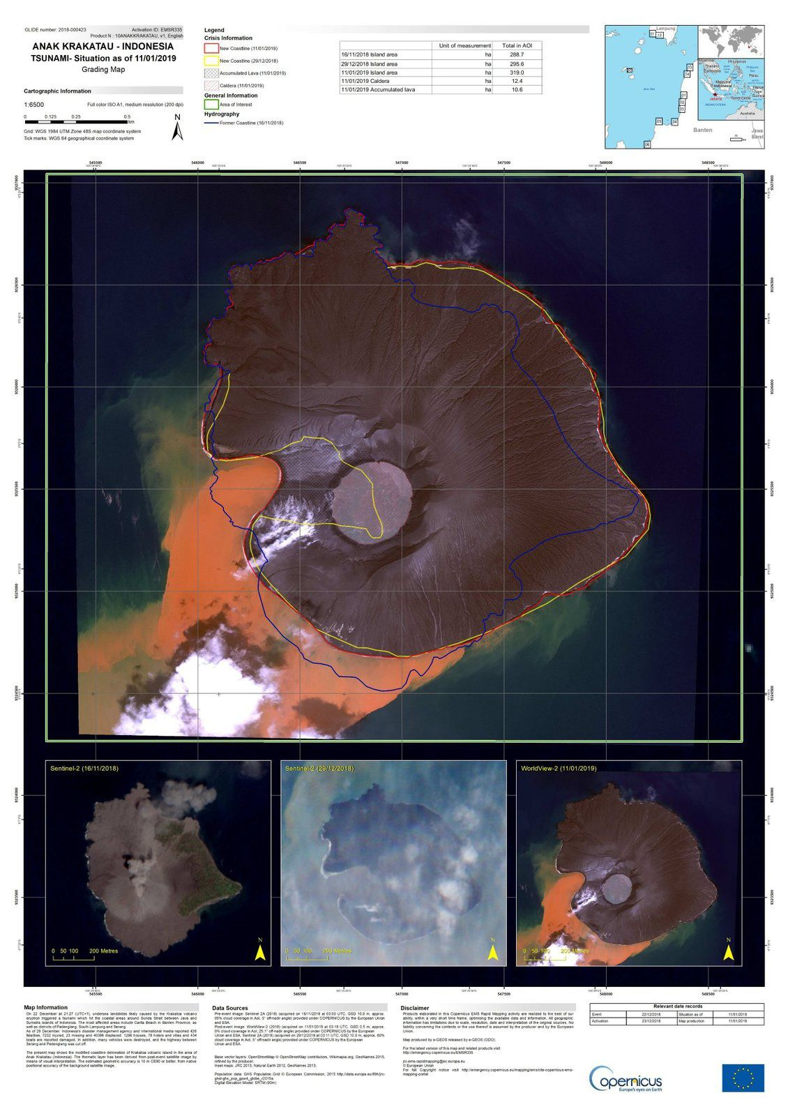 Anak Krakatau - morphological evolution between December / before the tsunami and the collapse and 11.01.2019 - Doc. Copernicus EU
