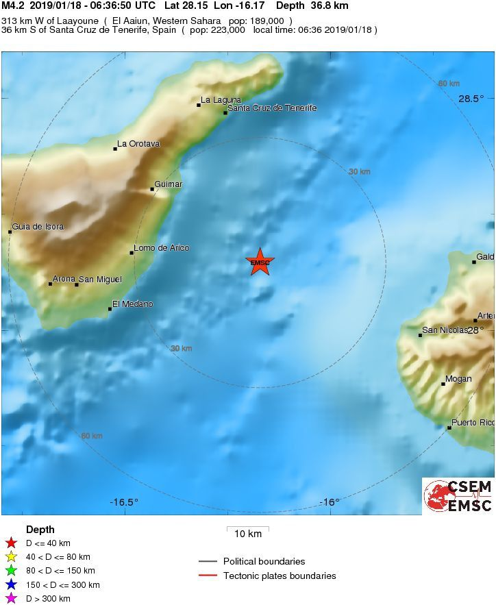 Canaries - earthquake of 18 January 2019 at 6:36 am local time between Tenerife and Gran Canaria - Doc. EMSC