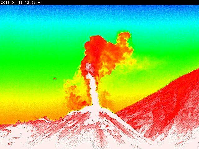 Fuego - 19.01.2019 / 12:26 pm cam. therm. - Insivumeh