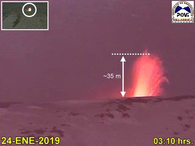 Villarica - lava fountain from 24.01.2019 / 3:10 am - Doc. POVI