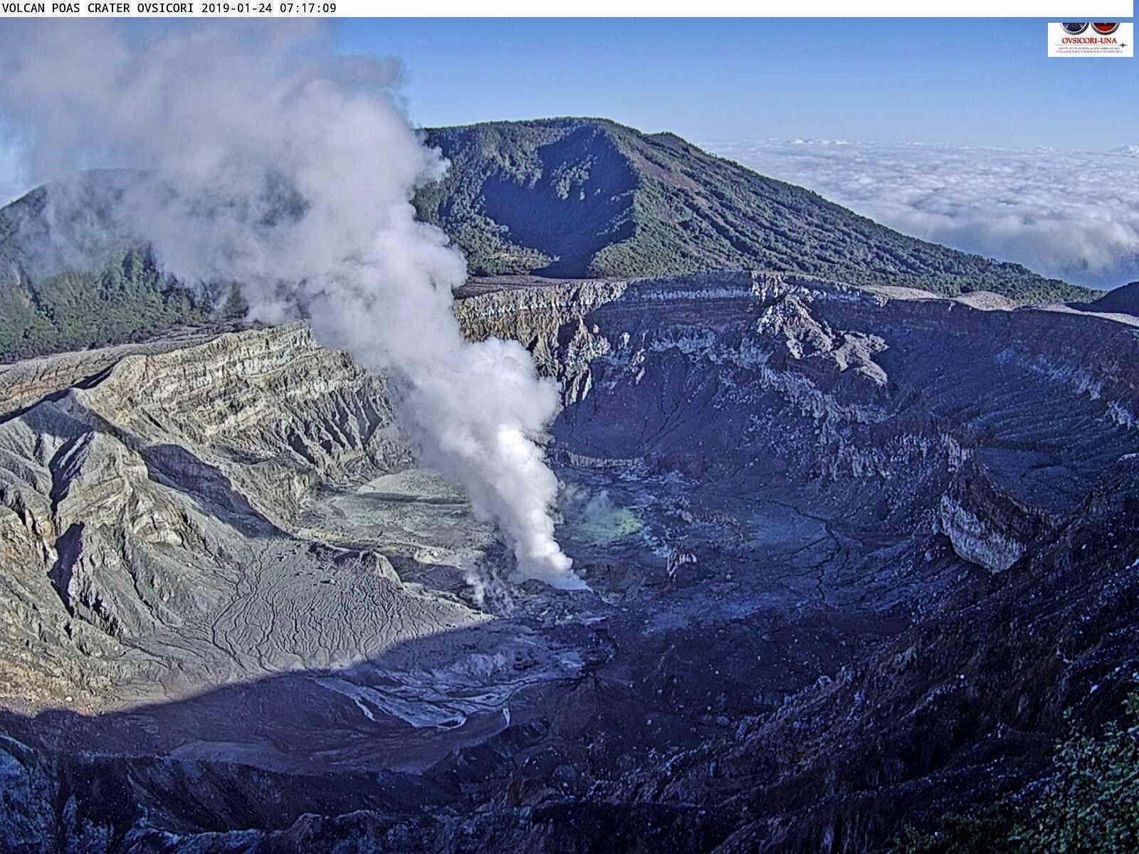 Poas - panaches de vapeur du 24.01.2019, respectivement à 7h17 et 11h38 - webcam Ovsicori