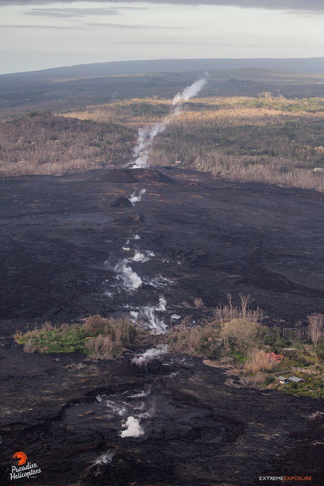 Kilauea East Rift Zone - restoration of access to the Puna geothermal venture and degassing on the line of cracks / crevices - photo Bruce Omori 25.01.2019