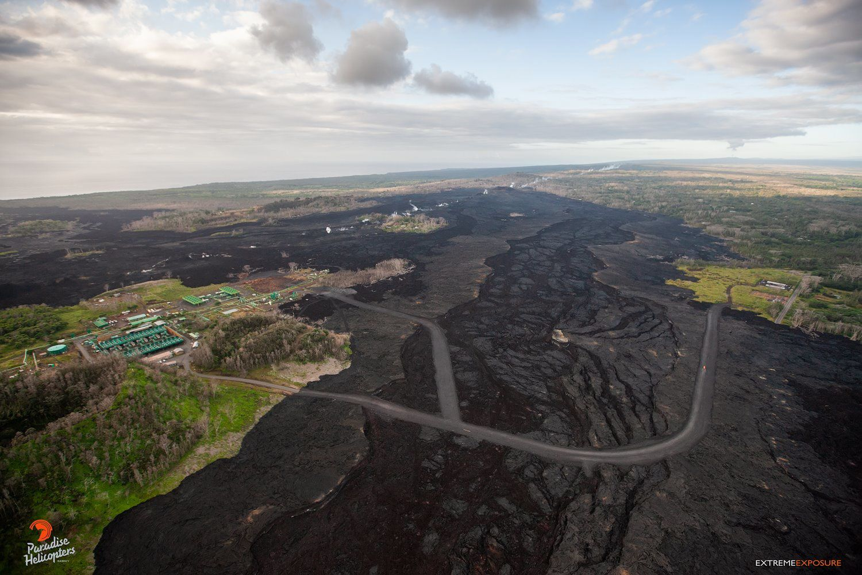 Kilauea zone de rift Est - restauration de l'accès au Puna geothermal venture et dégazage sur la ligne de fissures / crevasses - photo Bruce Omori 25.01.2019