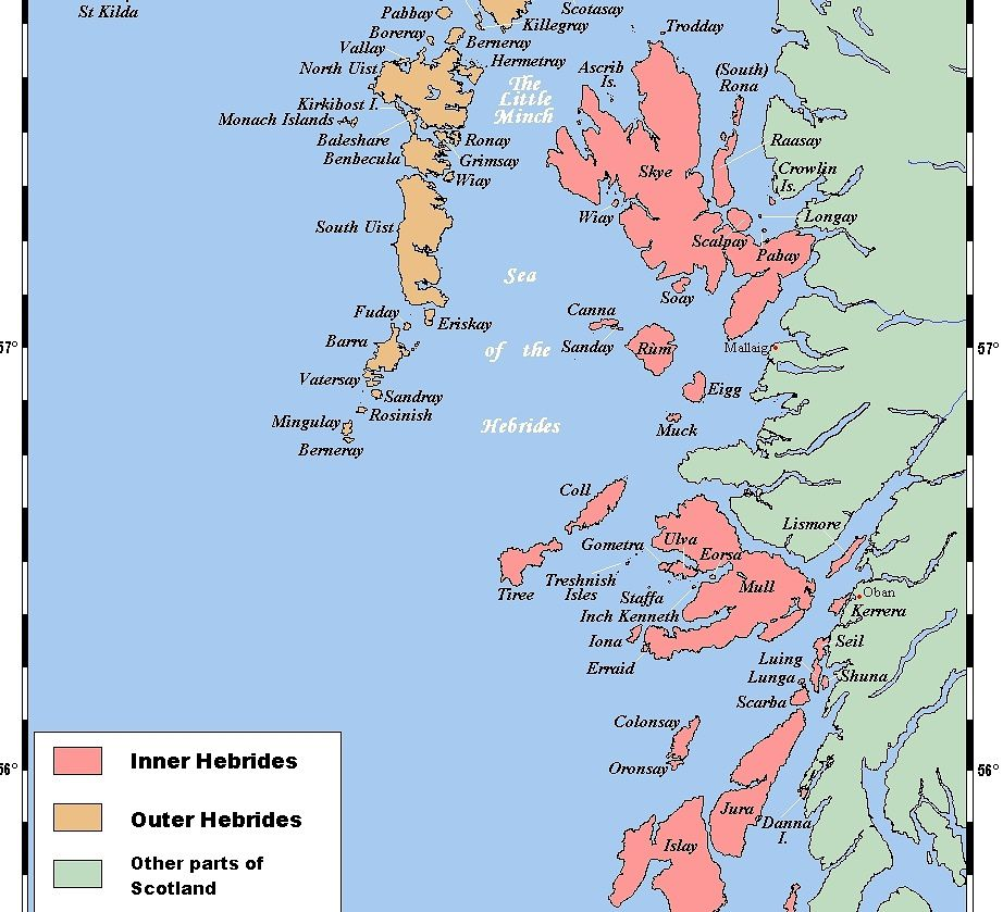Map of the Inner Hebrides (in pink) off the coast of Scotland (in green)