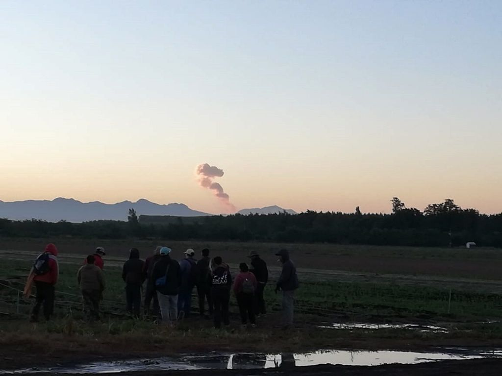 Nevados de Chillan - explosion on 31.01.2019 / 07h seen from the town of Retiro