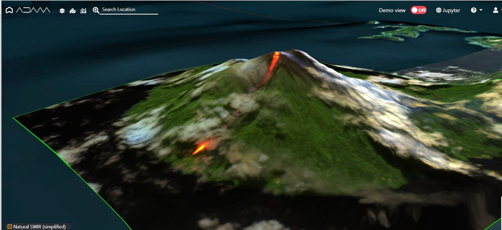 This 3D image of the northern flank of Karakgetang shows the terrain accidents responsible for the more or less rapid advance of the lava flow - Doc. Copernicus 03.02.2019