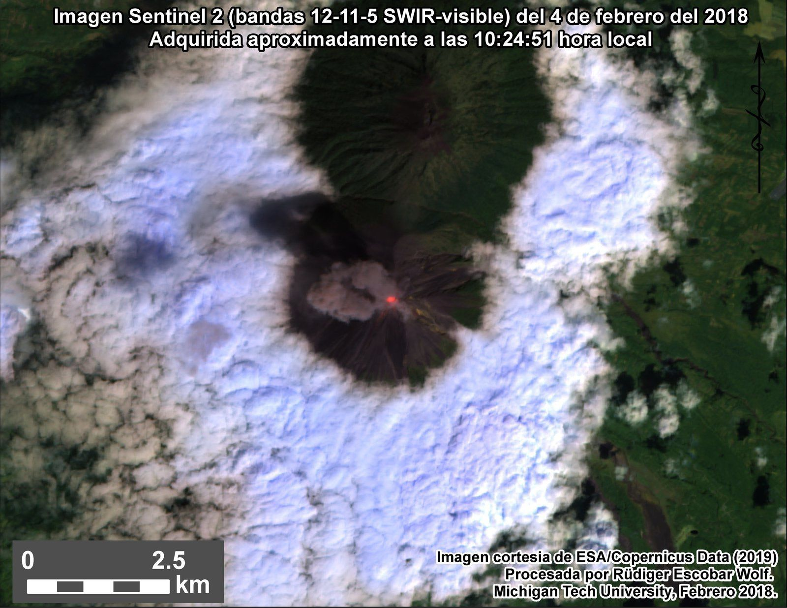 Fuego - image Sentinel 2 bands 12,11,5 SWIR-Visible from 04.02.2019 / 10:24 am - via Rüdiger Escobar Wolf