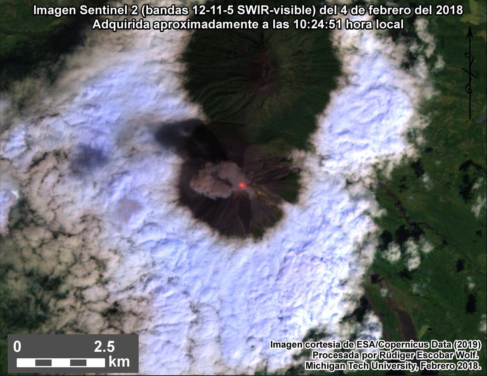 Fuego - image Sentinel 2 bands 12,11,5 SWIR-Visible du 04.02.2019 / 10h24 - via Rüdiger Escobar Wolf