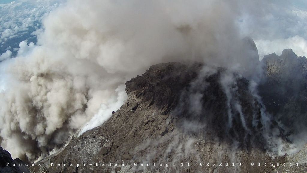 Merapi - Pyroclastic avalanche flow over 400 meters on 11.02.2019 / 8h58 - photo BPPTKG