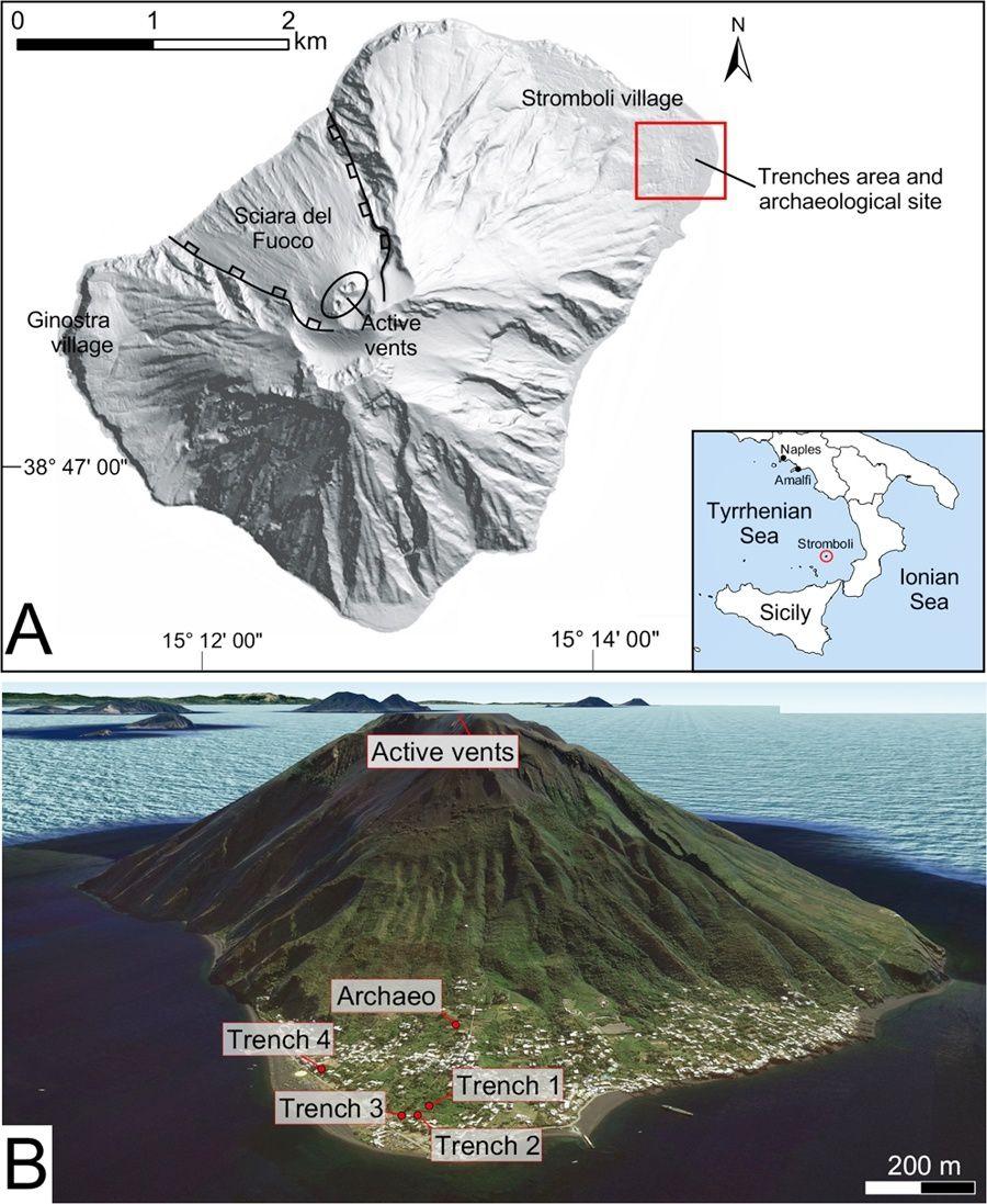 (A) Carte générale de Stromboli montrant la zone étudiée dans la zone rouge. L'encart montre la localisation de Stromboli dans la mer Tyrrhénienne. (B) Vue aérienne, du nord au sud, de Stromboli (image Google Earth), indiquant l'emplacement des tranchées et du site archéologique de San Vincenzo. - Doc. références en sources