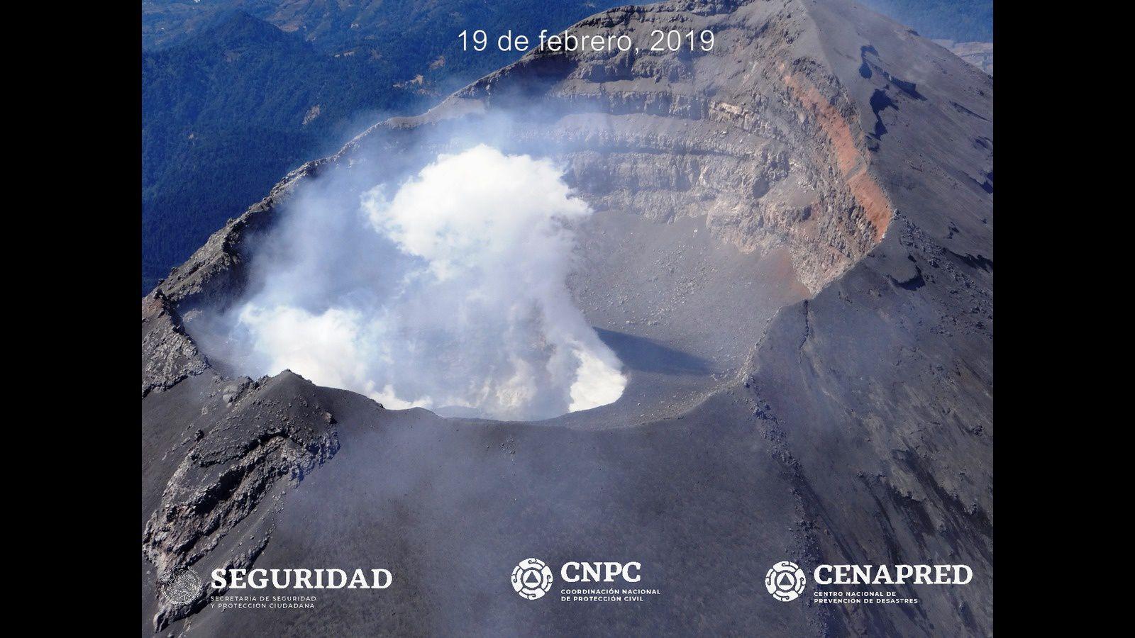 Popocatépetl - 19.02.2019 - formation du dôme de lave n°82 - phptps Cenapred / CNPC / Seguridad