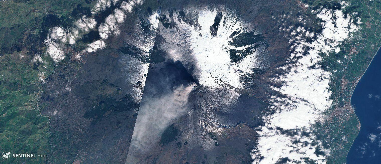 L'Etna en noir et blanc sur l'image Sentinel 2 nat. colors du 19.02.2019 (neige, panache et cendres) - un clic pour agrandir