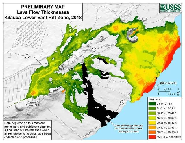 Hawaii - Preliminary Map of Lava Thicknesses - Doc. USGS 02.2019