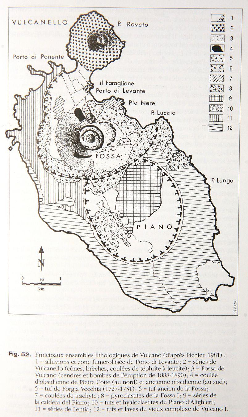 Vulcano - Principaux ensemble lithologiques - in Volcans d'Europe / M.Krafft & de Larouzière
