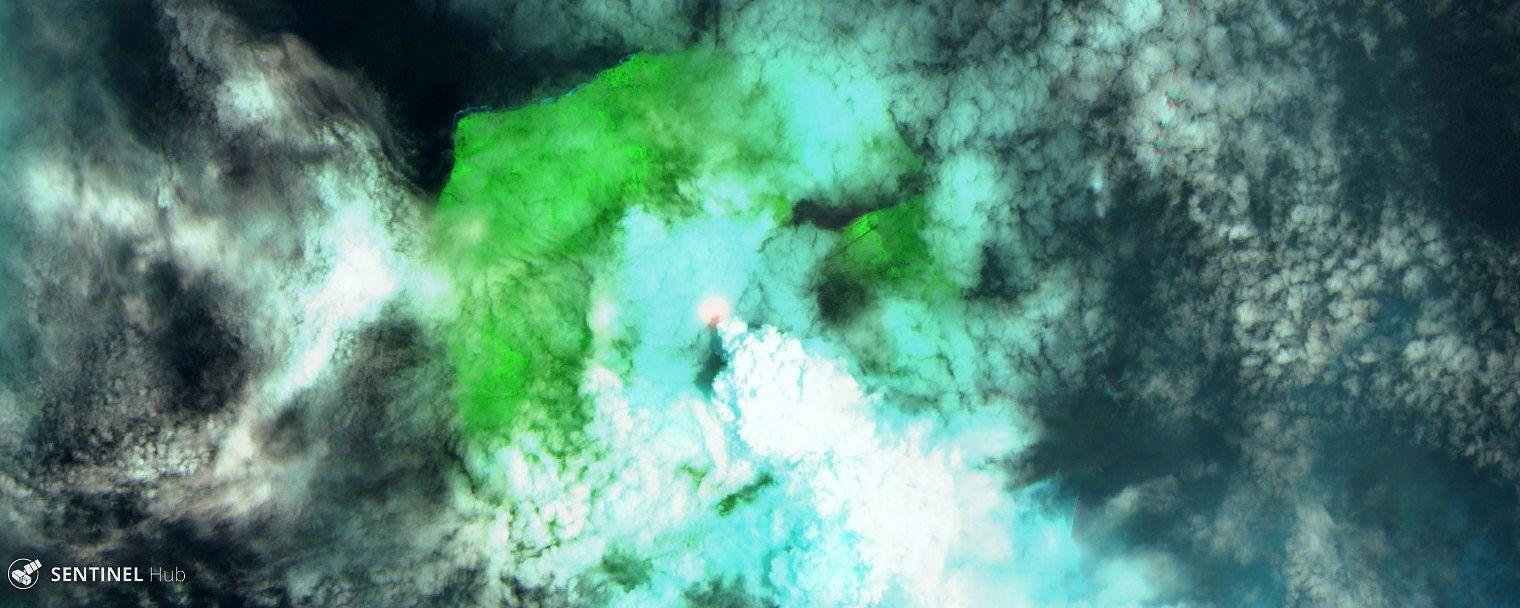 Manam - 01.03.2019 - image Sentinel 2 SWIR - un clic pour agrandir