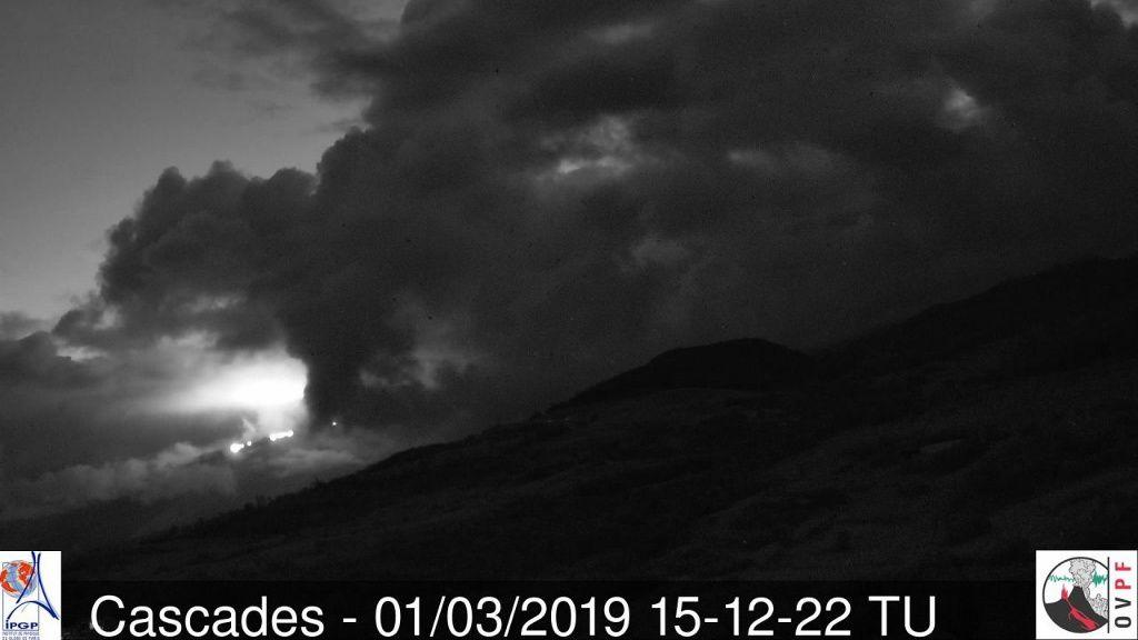 Piton de la Fournaise - slow progress of the lava flow - 22.02.2019 / 16h30 UT - 26.02.2019 / 16h00 UT - 01.03.2019 / 15h12 UTC - Cascades Webcam - OVPF