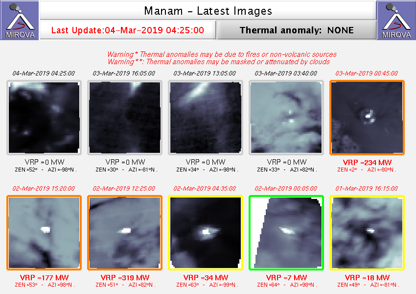 Manam - thermal anomalies of March 2nd and 3rd - Doc.Mirova at 04.03.2019