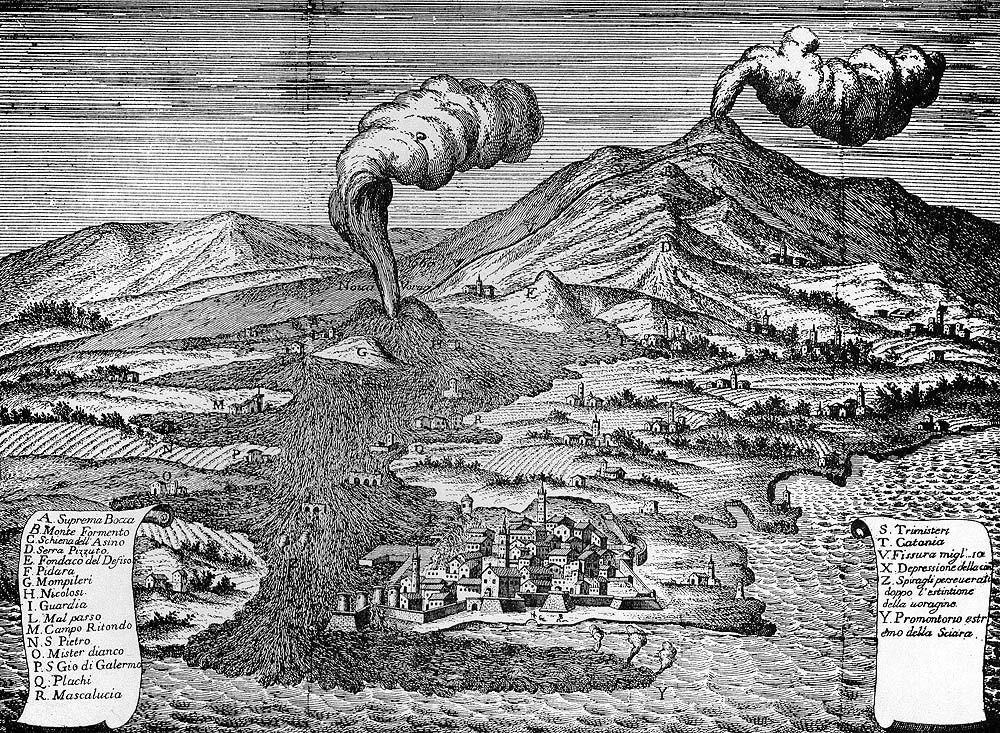 Old engraving illustrating the eruption of Etna in 1669 - Doc. www.italysvolcanoes.com - The cradle of volcanology