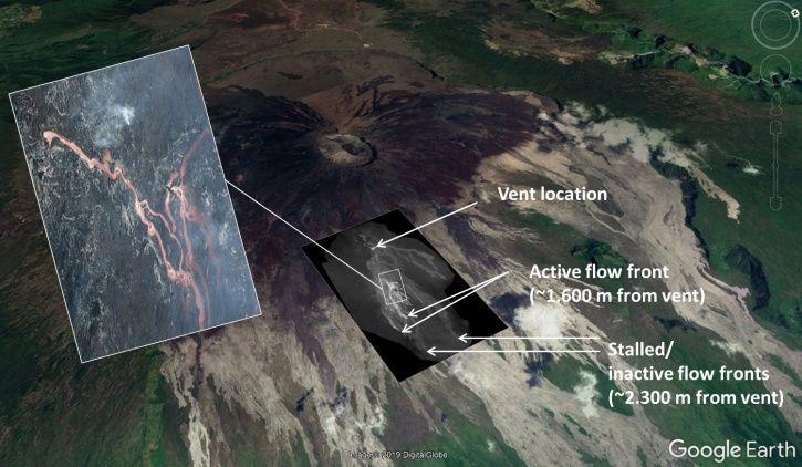 Piton de La Fournaise - Cartographie de la coulée de lave au 5 mars 2019, 8h30 heure locale déduite d'images aériennes infra-rouges. (© OVPF/IPGP)