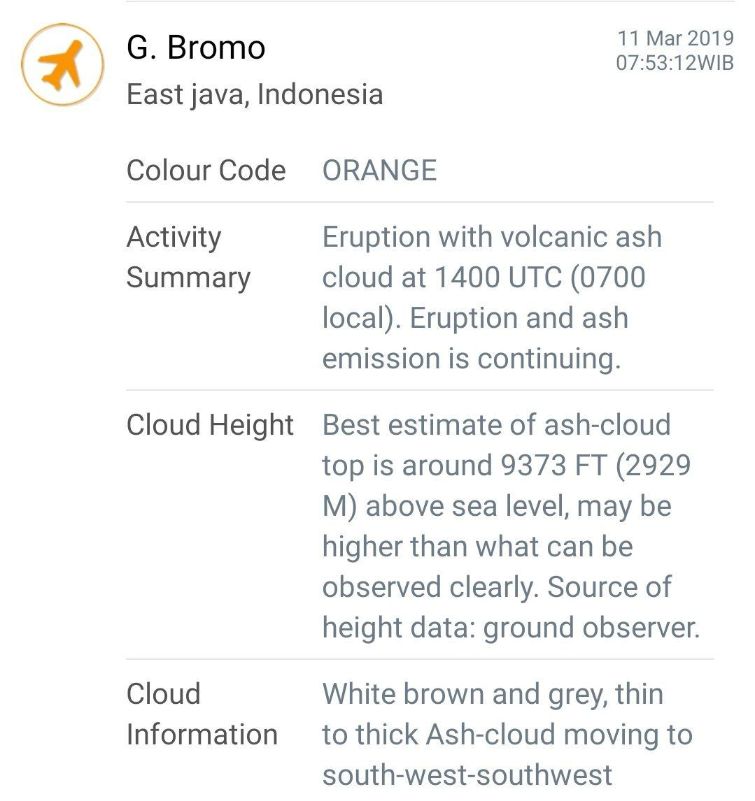 Bromo - VONA from March 11 - Magma Indonesia / via O.L.Andersen