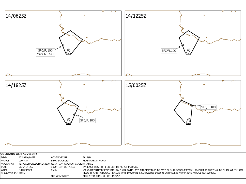 Bromo - Volcanis Ash Advisory for 14 and 15.03.2019 - Doc Vaac Darwin IDY65295